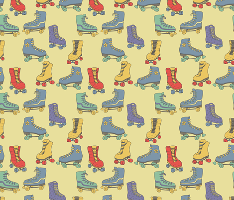 Retro Rollerskates fabric by kellie_jayne_ on Spoonflower - custom fabric