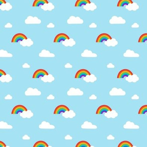 Little Rainbows and Fluffy Clouds on sky blue