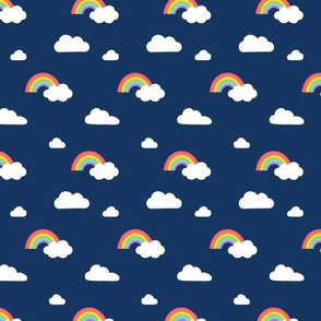 Little Rainbows and Fluffy Clouds on navy