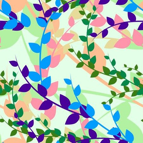 Abstract floral pattern with spring leaves in blue and green colors