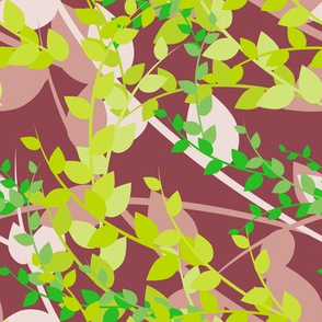 Abstract floral pattern with spring leaves in green and brown colors