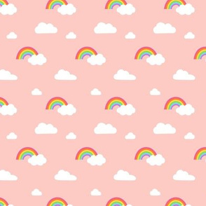 Little Rainbows and Clouds on Coral Pink