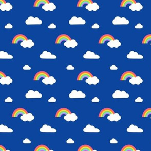 Little Rainbows and Fluffy Clouds on royal blue