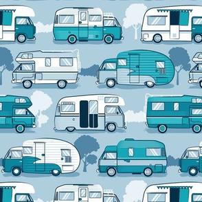 Home sweet motor home // camper vans on pastel blue background
