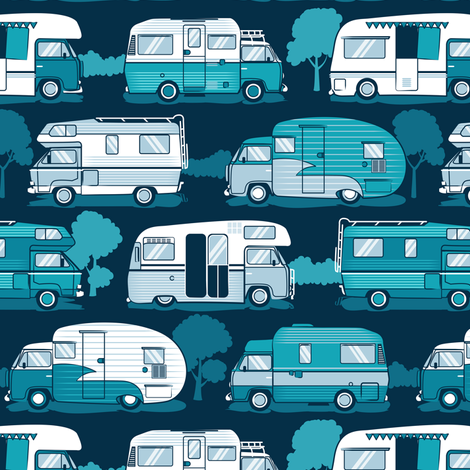 Home sweet motor home // camper vans on navy blue background  fabric by selmacardoso on Spoonflower - custom fabric