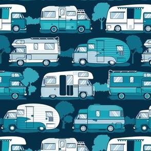 Home sweet motor home // camper vans on navy blue background