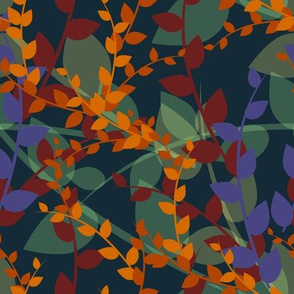 Abstract floral pattern with autumn leaves in orange and blue colors