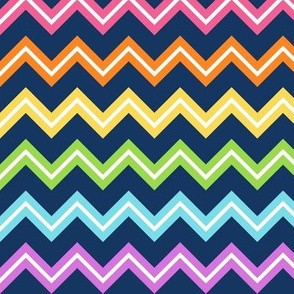 Chevron Rainbow on navy