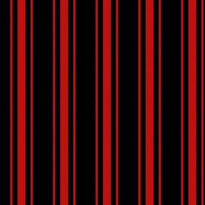 Mattress Ticking Wide Striped Pattern Jet Black on Red