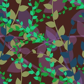 Abstract floral pattern with autumn leaves in green, blue and brown colors