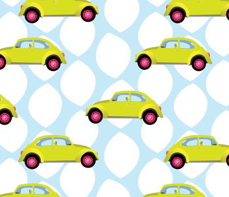 little yellow cars fabric by audreybrewer on Spoonflower - custom fabric