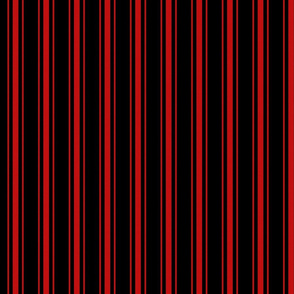 Mattress Ticking Small Striped Pattern Red on Black
