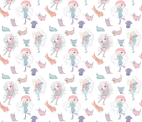 Little girls and cats fabric by purple-bird on Spoonflower - custom fabric