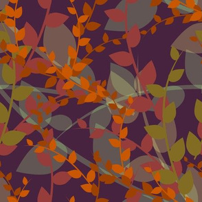 Abstract floral pattern with autumn leaves in orange and violet colors