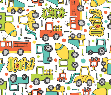 Wheels Go Round fabric by thedoodlingdesigner on Spoonflower - custom fabric