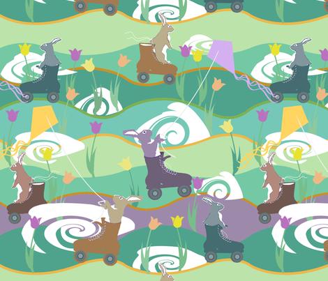 FourWheelsandRabbits fabric by notbrownplaid on Spoonflower - custom fabric