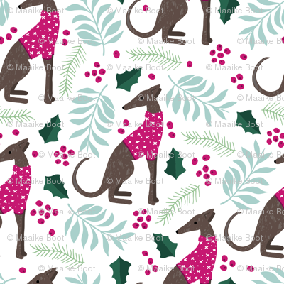 Sweet greyhound puppy dogs christmas winter whippet sweater weather illustration pink mint and blue girls pattern