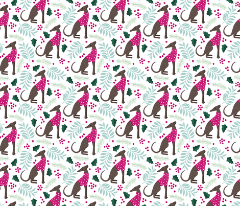 Sweet greyhound puppy dogs christmas winter whippet sweater weather illustration pink mint and blue girls pattern fabric by littlesmilemakers on Spoonflower - custom fabric