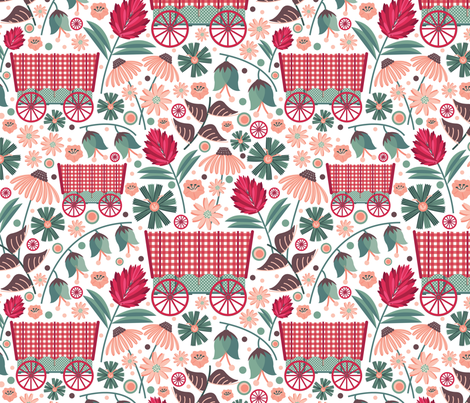 Wagons-and-Wildflowers fabric by nanshizzle on Spoonflower - custom fabric
