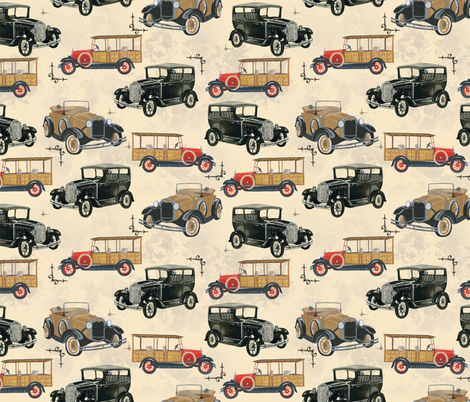 antique cars fabric by madsweet_art on Spoonflower - custom fabric