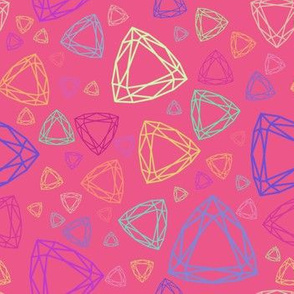 Gemstones on bright pink