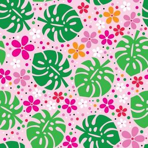 aloha monstera on pink