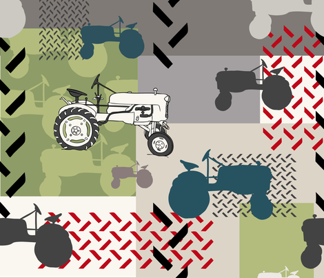 Tractor Montage - Large fabric by fernlesliestudio on Spoonflower - custom fabric