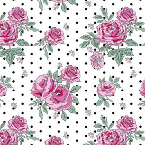 rose floral bouquet spring fabric quilting florals dots