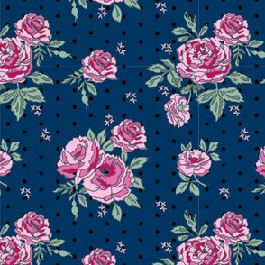 rose floral bouquet spring fabric quilting florals navy