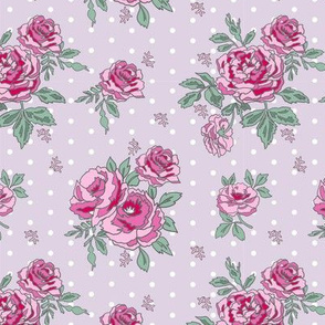 rose floral bouquet spring fabric quilting florals purple