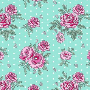rose floral bouquet spring fabric quilting florals med blue