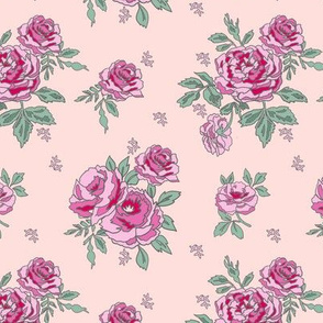 rose floral bouquet spring fabric quilting florals pink