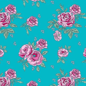 rose floral bouquet spring fabric quilting florals blue