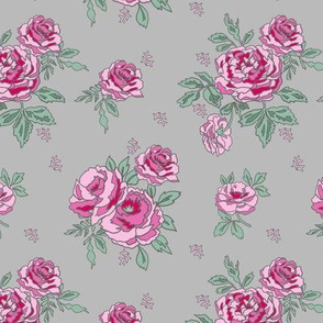 rose floral bouquet spring fabric quilting florals grey