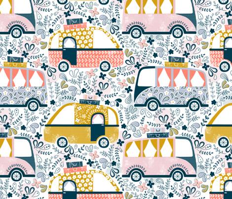 Summer Holidays Campervans  fabric by sarah_knight on Spoonflower - custom fabric