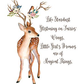 "53cm Illustration inside 3 yards of 56"" wide fabric / Sweet Friends Deer with Stardust Quote"