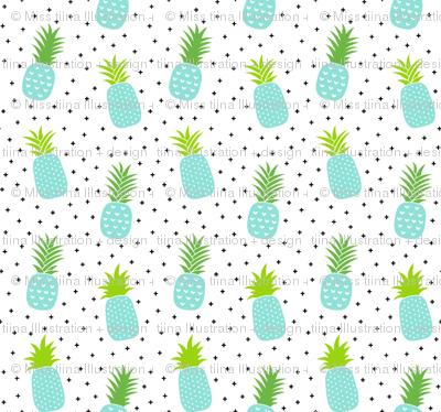 tiny pineapples plus crosses + sky blue :: fruity fun