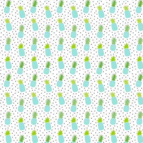 tiny pineapples plus crosses + sky blue :: fruity fun fabric by misstiina on Spoonflower - custom fabric