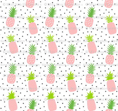 tiny pineapples plus crosses + pink :: fruity fun