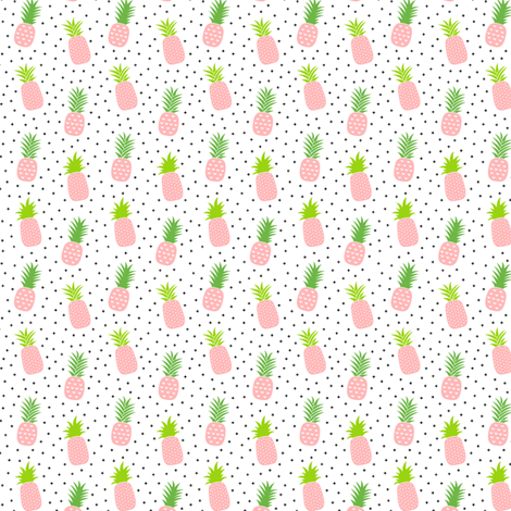 tiny pineapples plus crosses + pink :: fruity fun fabric by misstiina on Spoonflower - custom fabric