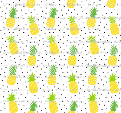 tiny pineapples plus crosses + yellow :: fruity fun