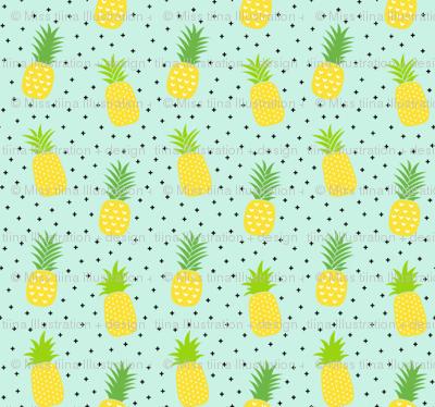 tiny pineapples plus crosses + yellow on sky blue :: fruity fun