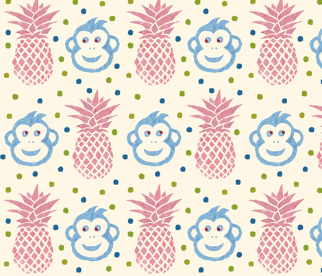 Monkey ananas 2 fabric by lucybaribeau on Spoonflower - custom fabric