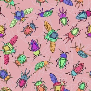 Gemstone Beetles on Pink (medium)