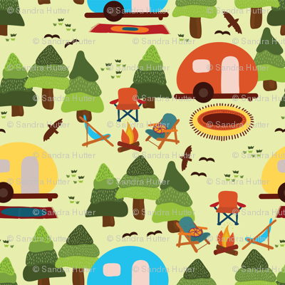 Campsite with caravans, campfire, camping chairs, trees, carpet, birds. Camping in the forest. Campground. Camping trailers. RV. Camp night.