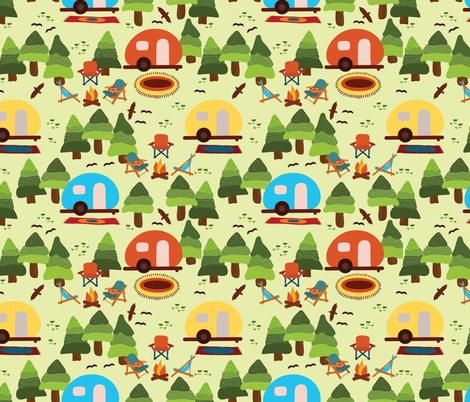 Campsite with caravans, campfire, camping chairs, trees, carpet, birds. Camping in the forest. Campground. Camping trailers. RV. Camp night. fabric by sandra_hutter_designs on Spoonflower - custom fabric