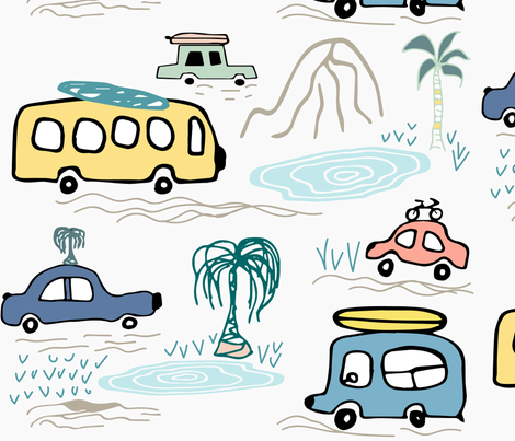Four Wheels Adventure. Tropical holyday. fabric by ethnic_design on Spoonflower - custom fabric