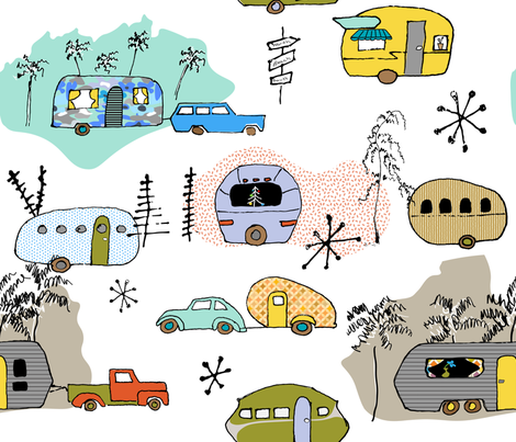 Let's Go Motoring with Vintage RV's fabric by goatfeatherfarm on Spoonflower - custom fabric