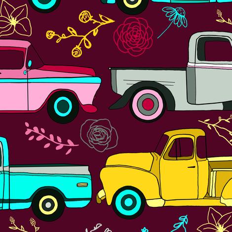 Floral Vintage Trucks  - Big fabric by tigatiga on Spoonflower - custom fabric