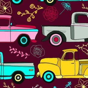 Floral Vintage Trucks  - Big